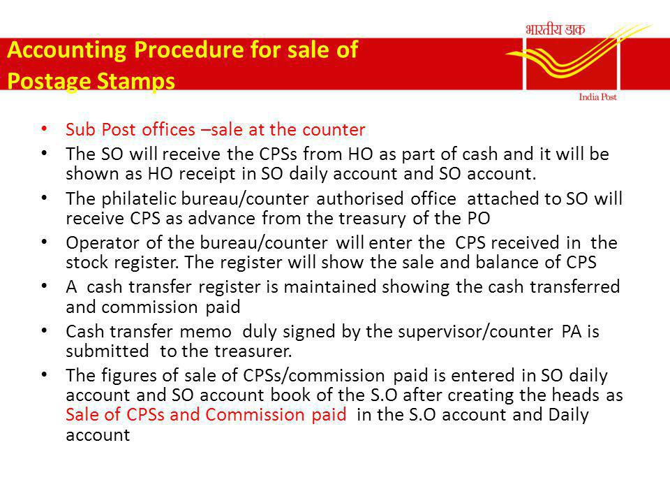 Accounting Procedure for sale of Postage Stamps