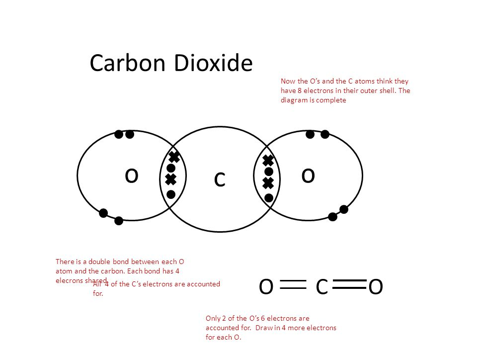 Carbon Dioxide Now the O's and the C atoms think they have 8 electrons in their outer shell. The diagram is complete.