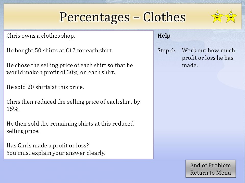 Percentages – Clothes Chris owns a clothes shop.