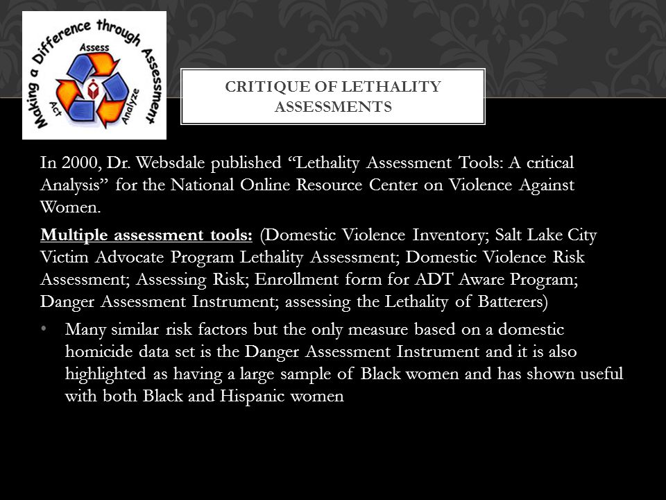 Critique of lethality assessments