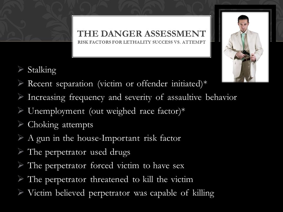 The Danger Assessment Risk Factors for Lethality success vs. attempt