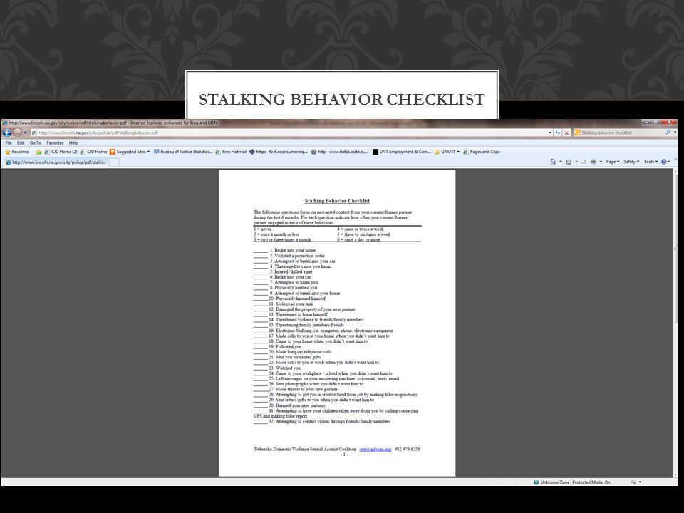 Stalking Behavior Checklist