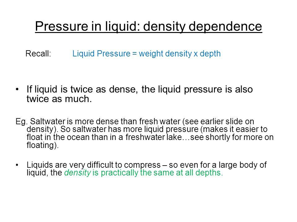 Pressure in liquid: density dependence