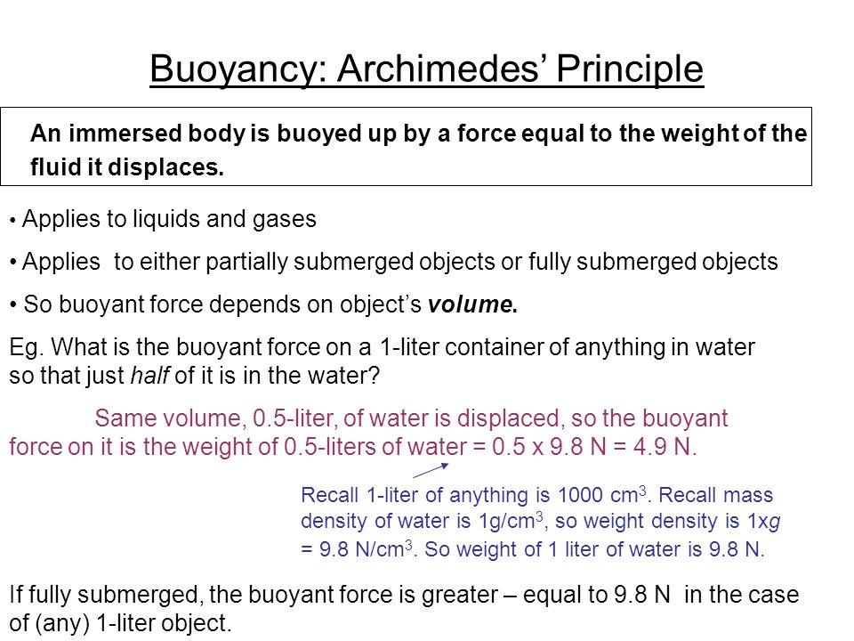 buoyancy lab archimedes principle essay