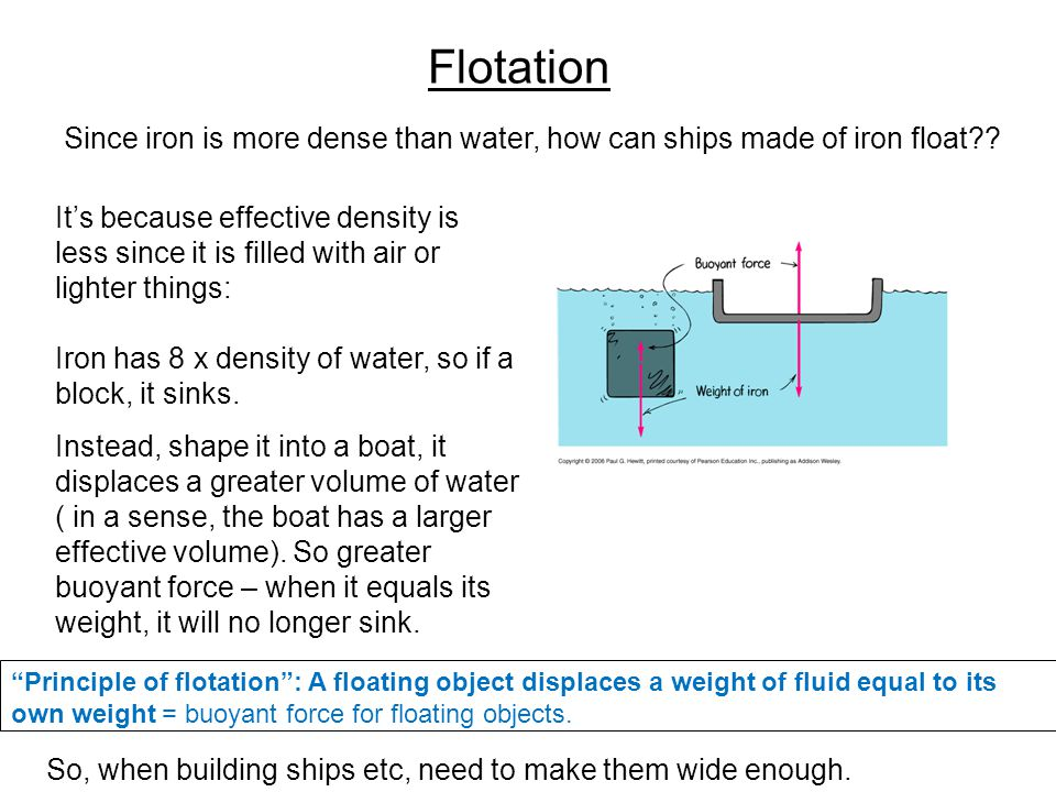 Flotation Since iron is more dense than water, how can ships made of iron float