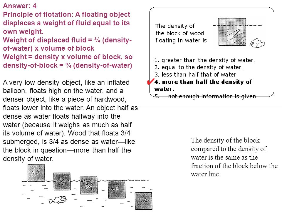 Answer: 4 Principle of flotation: A floating object displaces a weight of fluid equal to its own weight.