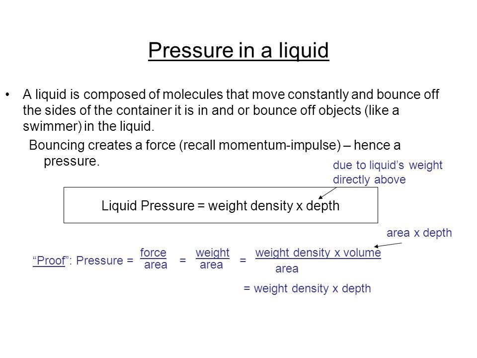 Pressure in a liquid