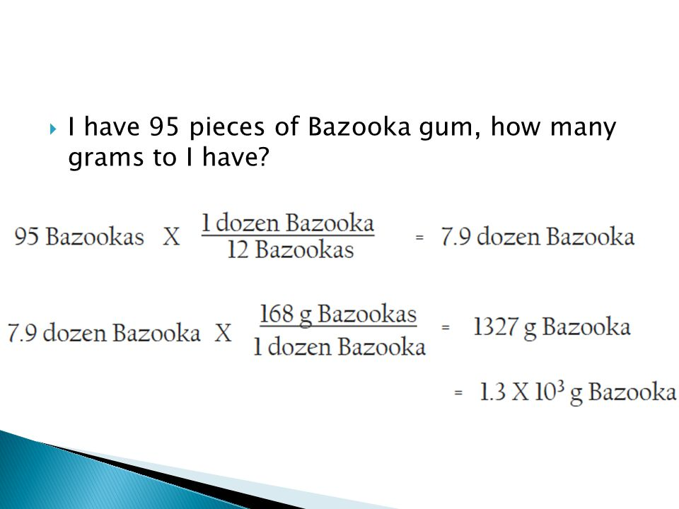 I have 95 pieces of Bazooka gum, how many grams to I have