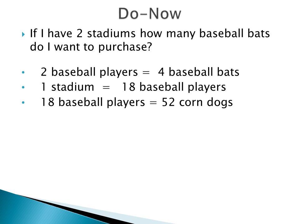 Do-Now If I have 2 stadiums how many baseball bats do I want to purchase 2 baseball players = 4 baseball bats.