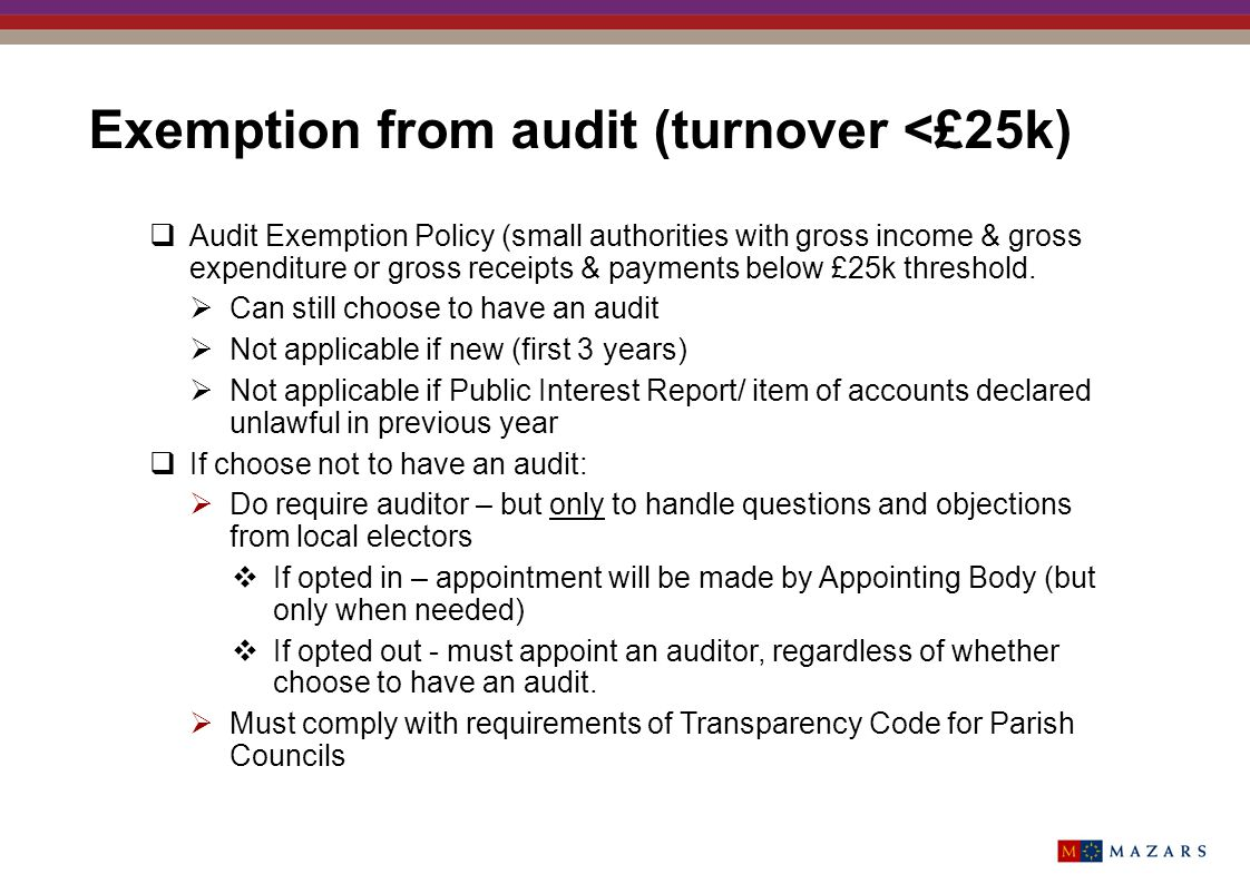 Exemption from audit (turnover <£25k)