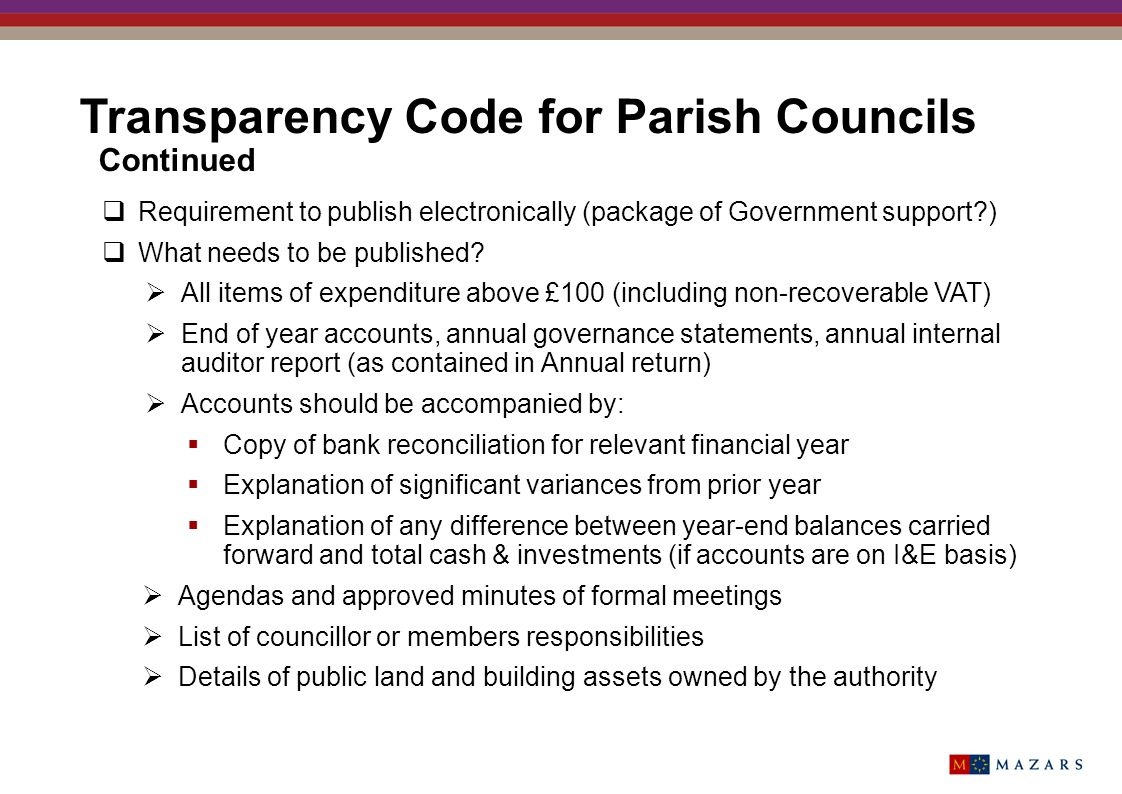 Transparency Code for Parish Councils Continued
