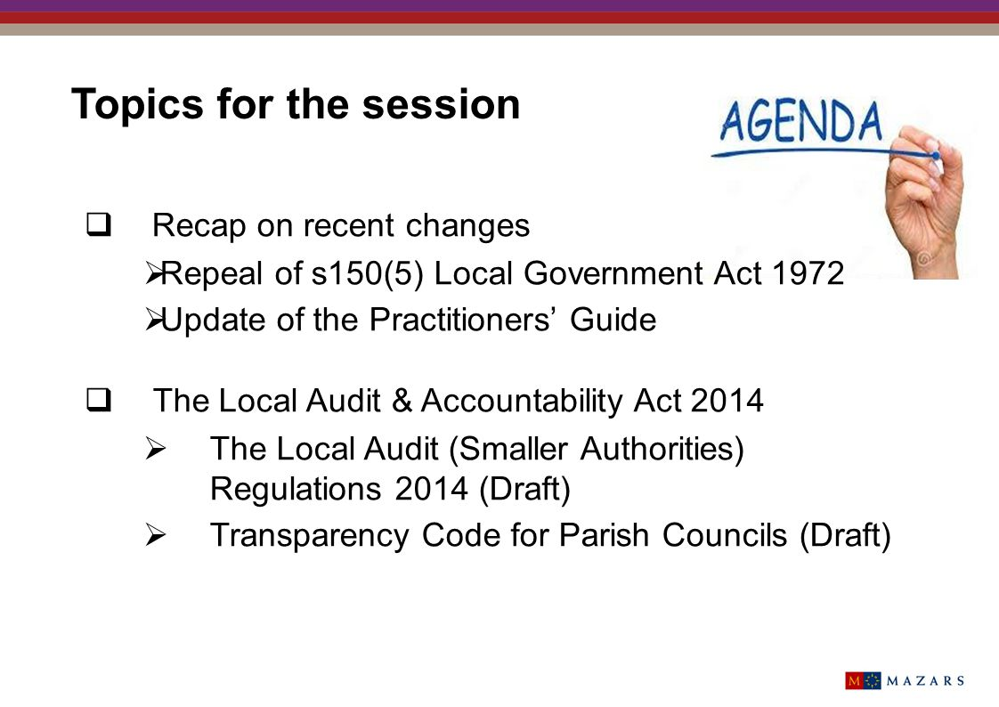 Topics for the session Recap on recent changes