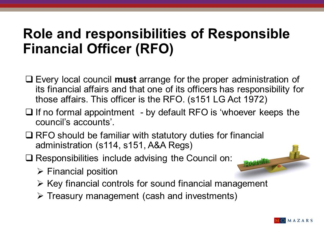 Role and responsibilities of Responsible Financial Officer (RFO)