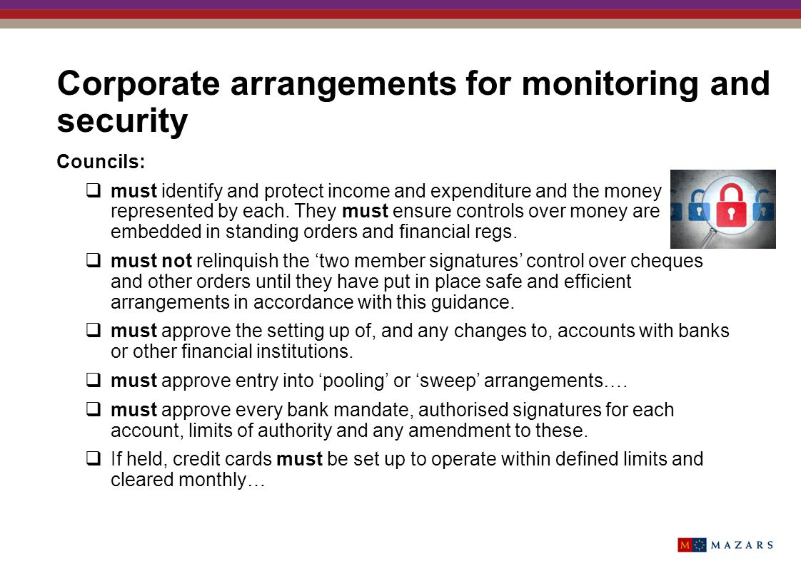 Corporate arrangements for monitoring and security