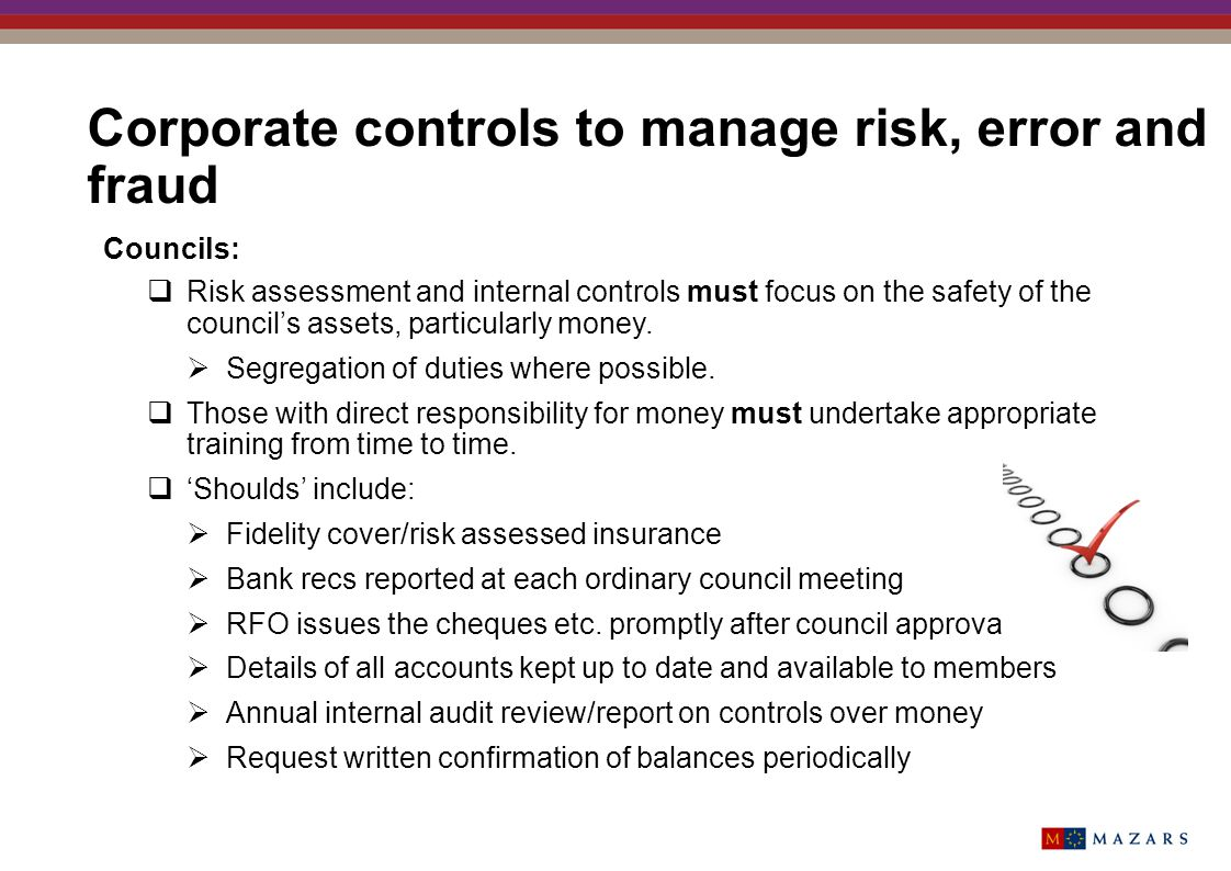 Corporate controls to manage risk, error and fraud