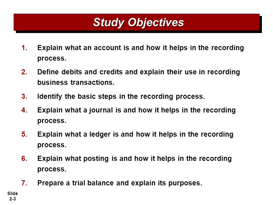 Study Objectives Explain what an account is and how it helps in the recording process.