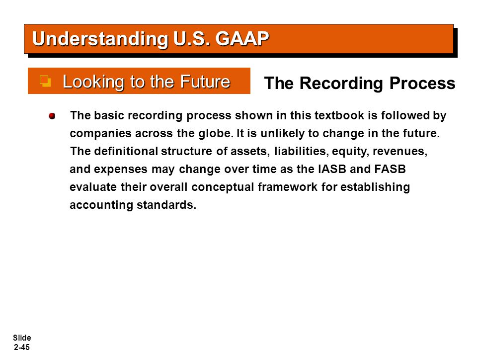 Understanding U.S. GAAP Looking to the Future The Recording Process