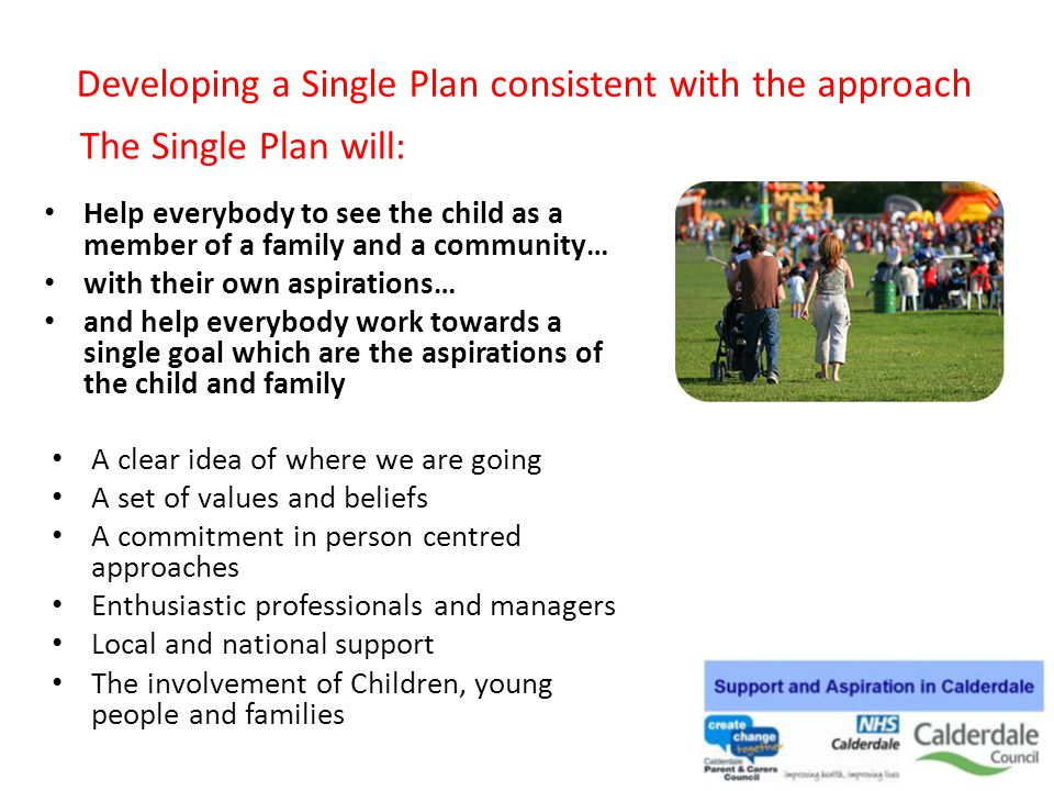 Developing a Single Plan consistent with the approach