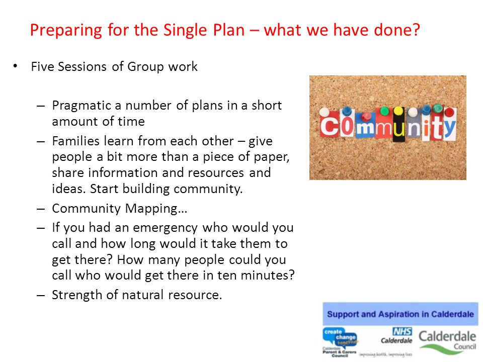 Preparing for the Single Plan – what we have done