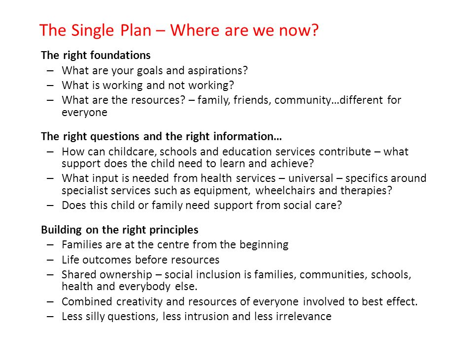 The Single Plan – Where are we now