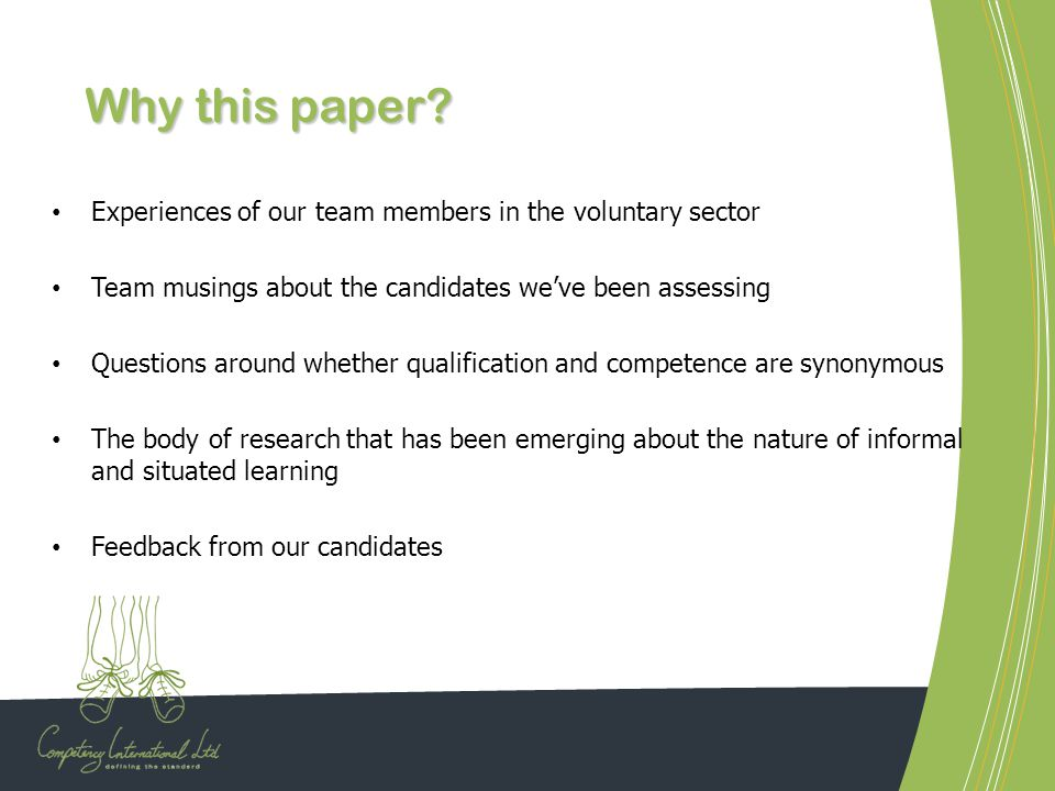 Why this paper Experiences of our team members in the voluntary sector. Team musings about the candidates we've been assessing.