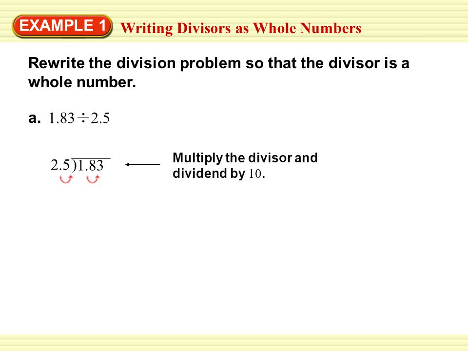 Writing Divisors as Whole Numbers