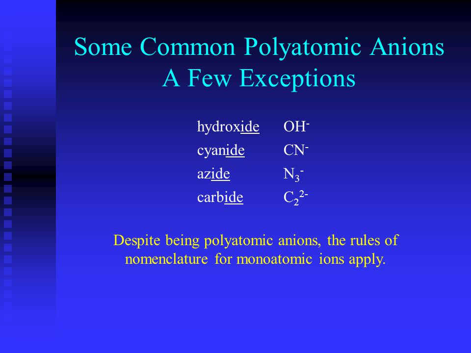 Some Common Polyatomic Anions A Few Exceptions