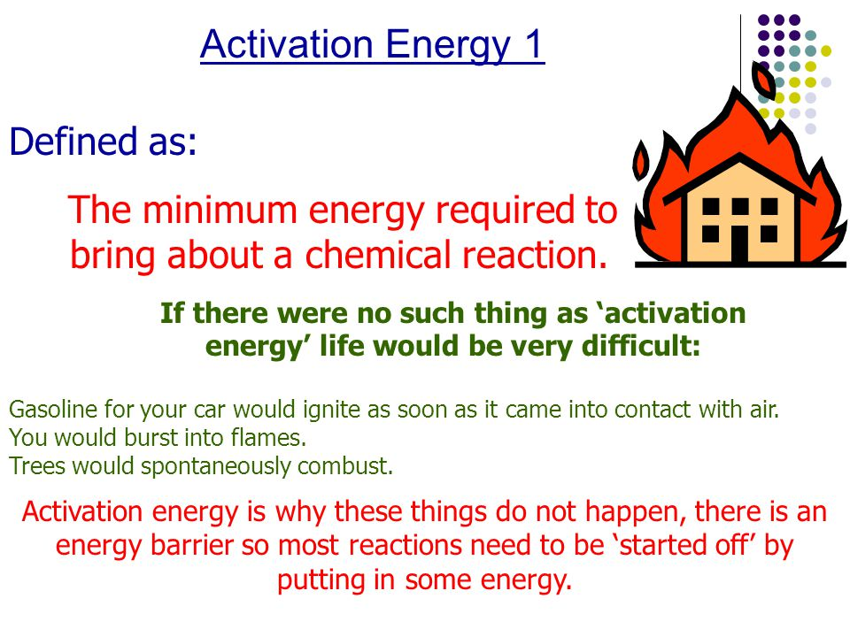 Activation Energy 1 Defined as: