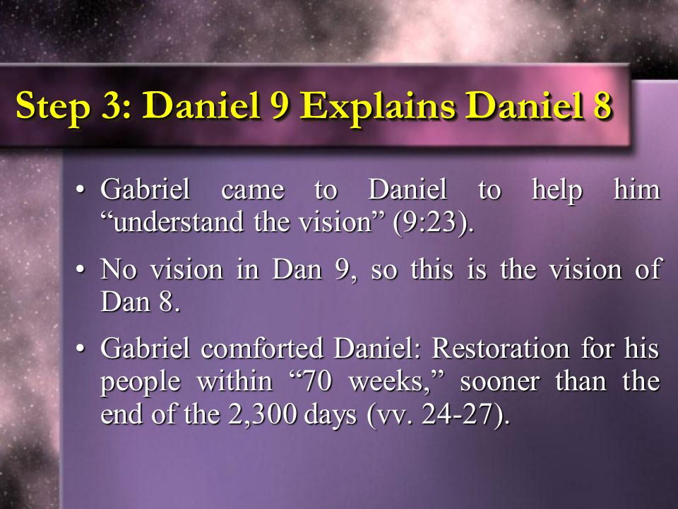 Step 3: Daniel 9 Explains Daniel 8