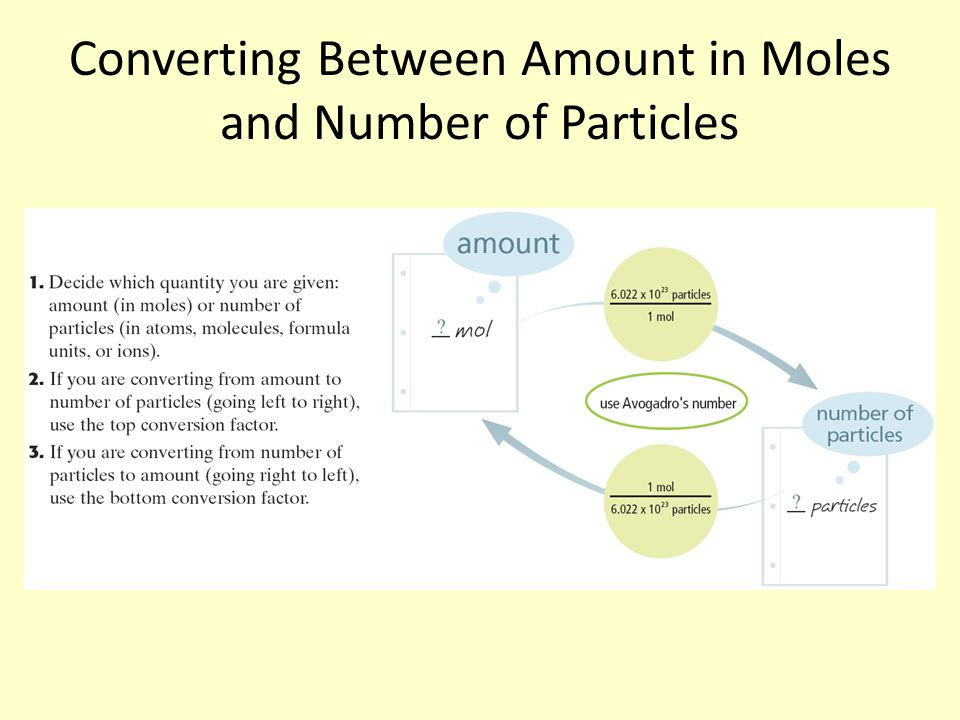 Converting Between Amount in Moles and Number of Particles