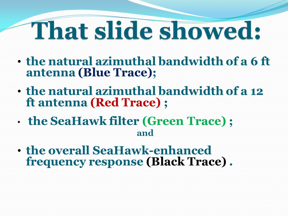 That slide showed: the natural azimuthal bandwidth of a 6 ft antenna (Blue Trace); the natural azimuthal bandwidth of a 12 ft antenna (Red Trace) ;