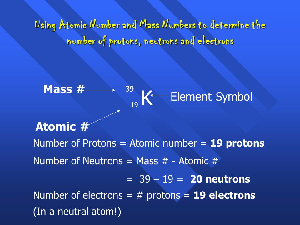 Using Atomic Number and Mass Numbers to determine the number of protons, neutrons and electrons