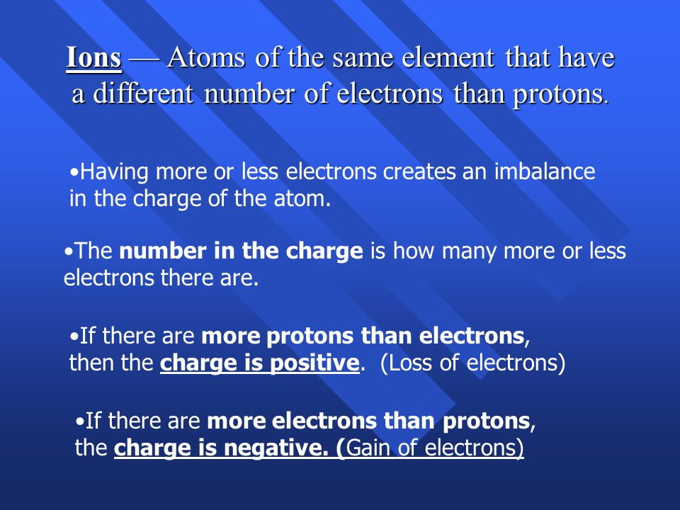 Ions — Atoms of the same element that have a different number of electrons than protons.