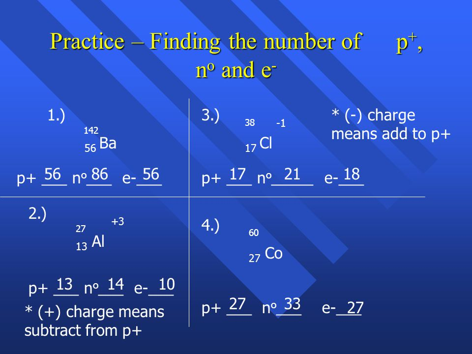 Practice – Finding the number of p+, no and e-