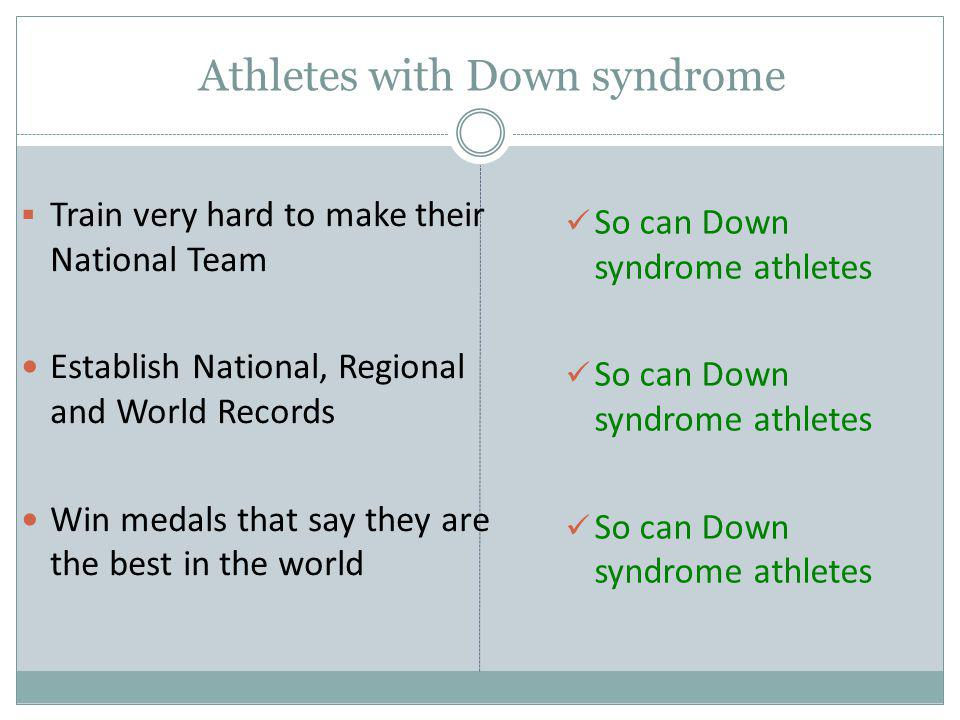 Athletes with Down syndrome