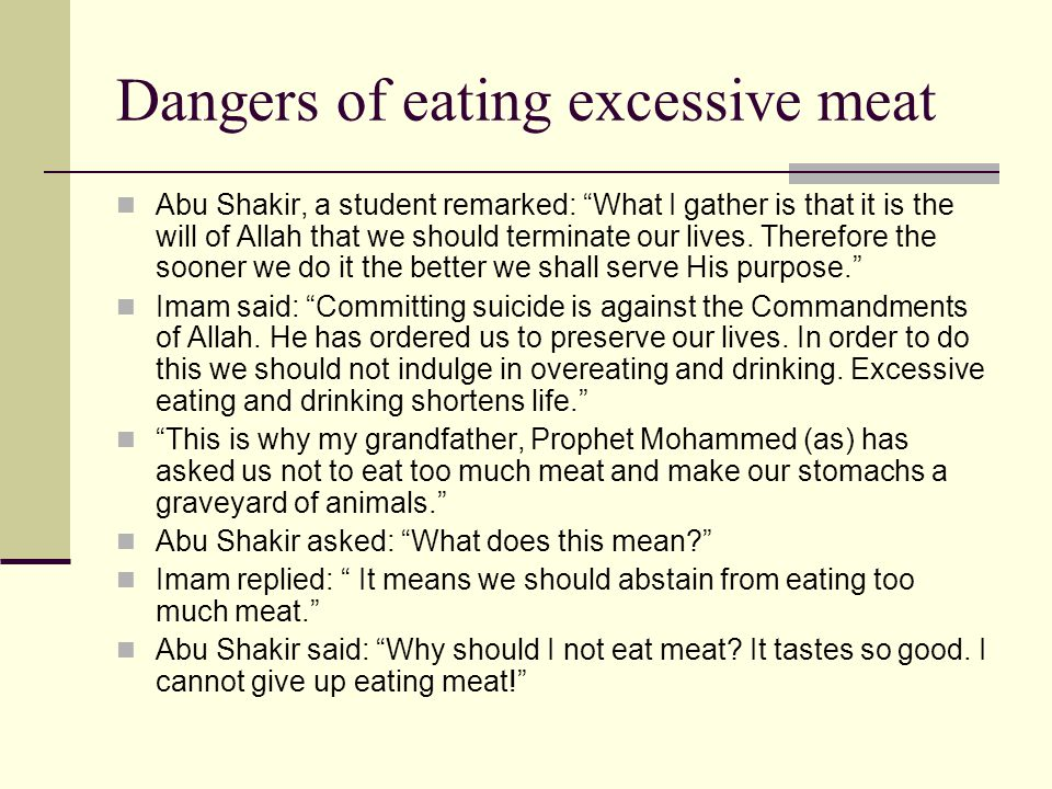 Dangers of eating excessive meat