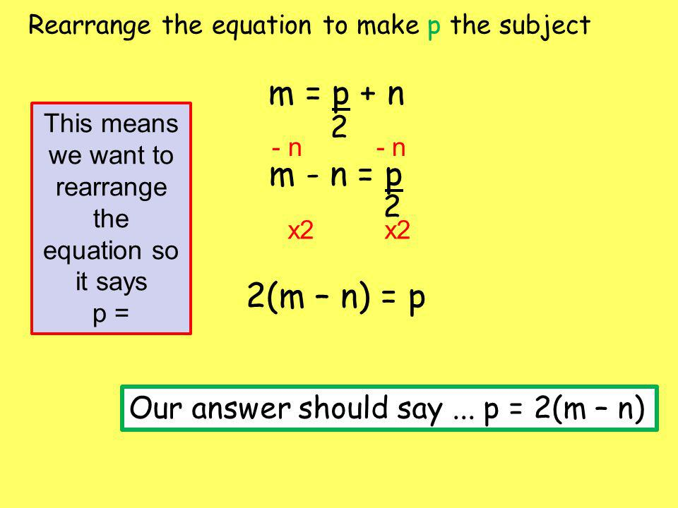 This means we want to rearrange the equation so it says