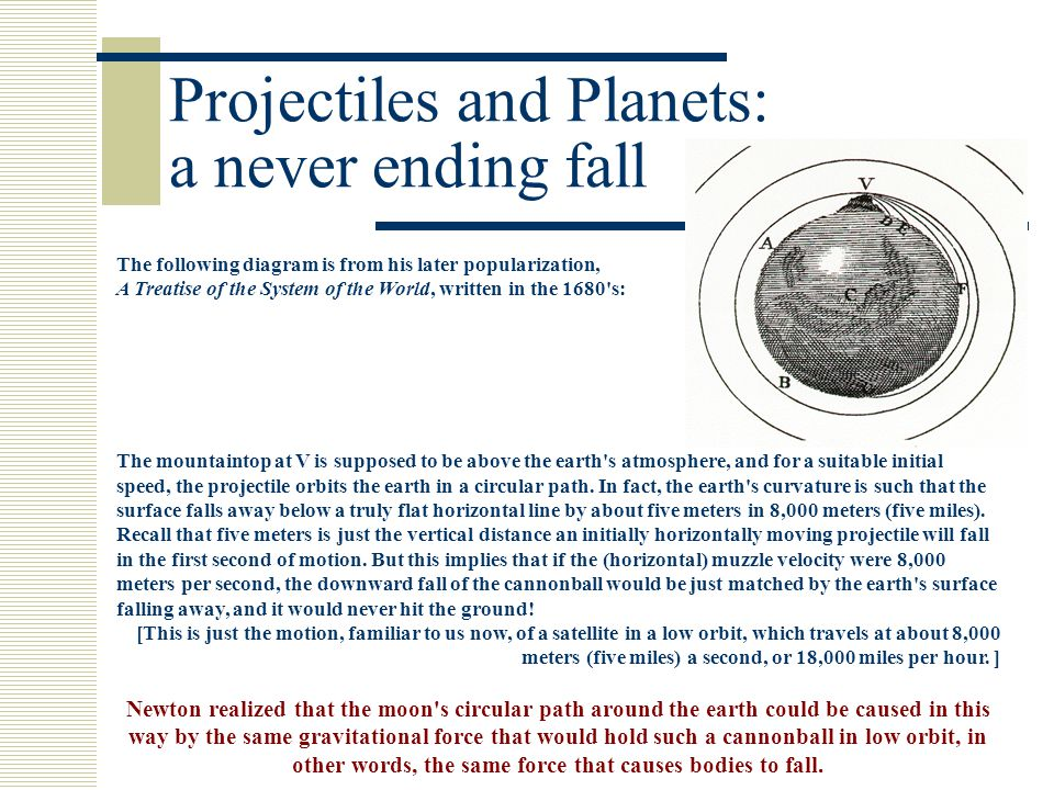 Projectiles and Planets: a never ending fall