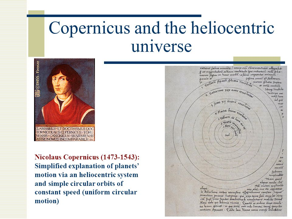 Copernicus and the heliocentric universe