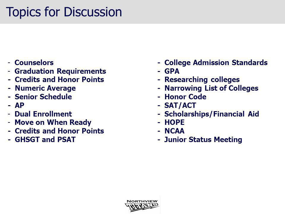 Topics for Discussion Counselors Graduation Requirements