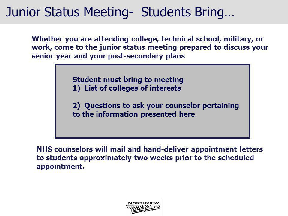 Junior Status Meeting- Students Bring…