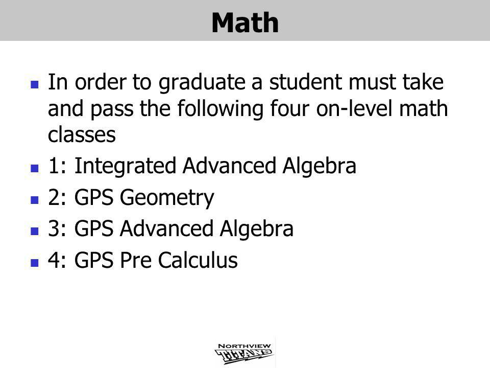 Math In order to graduate a student must take and pass the following four on-level math classes. 1: Integrated Advanced Algebra.
