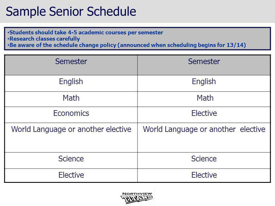 Sample Senior Schedule