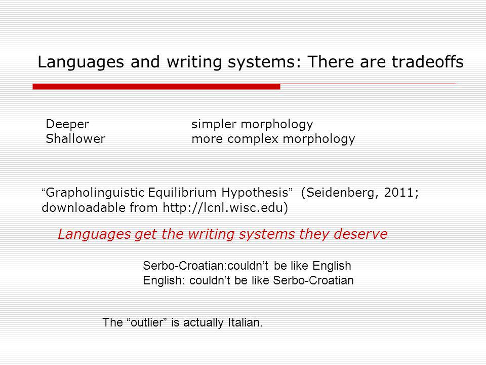 Languages and writing systems: There are tradeoffs