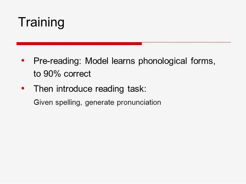 Training Pre-reading: Model learns phonological forms, to 90% correct