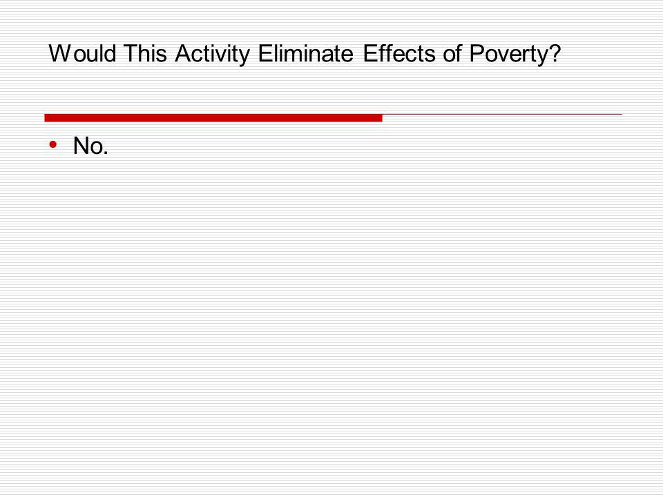 Would This Activity Eliminate Effects of Poverty