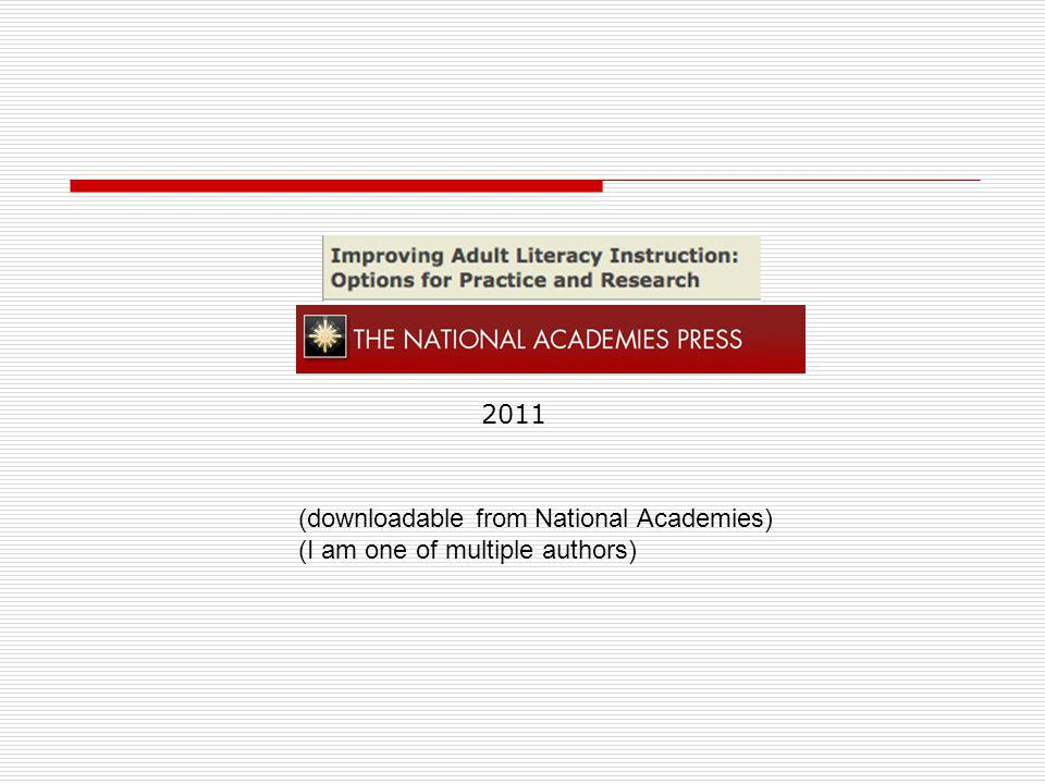 2011 (downloadable from National Academies) (I am one of multiple authors)