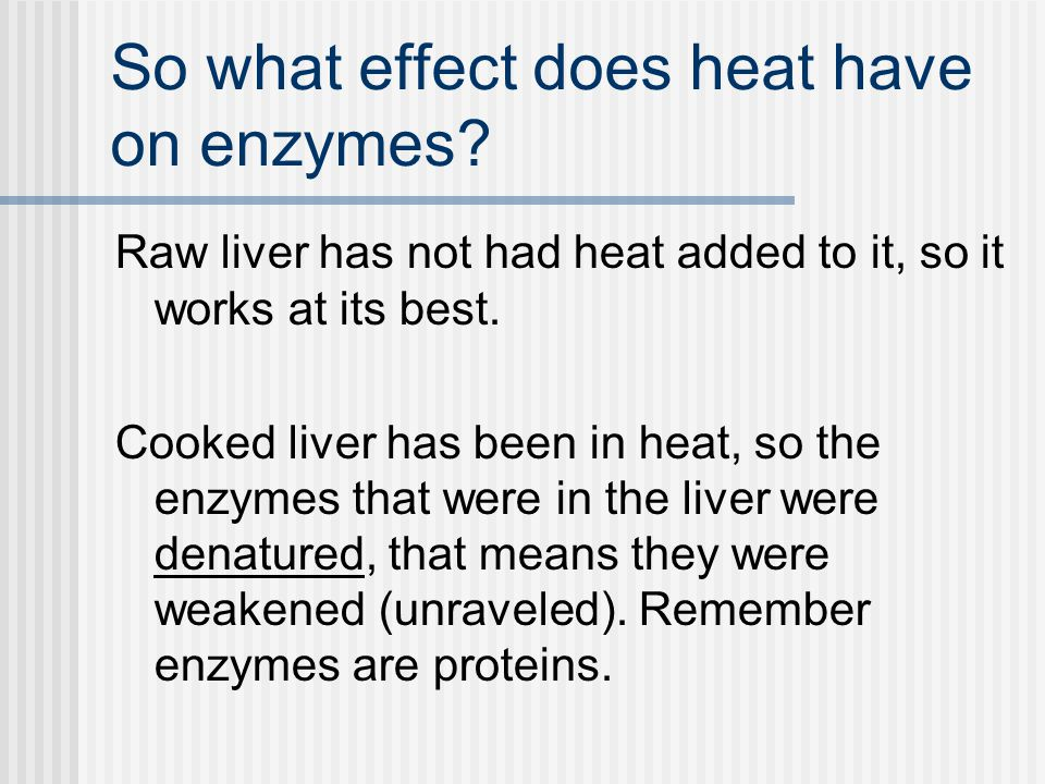 So what effect does heat have on enzymes