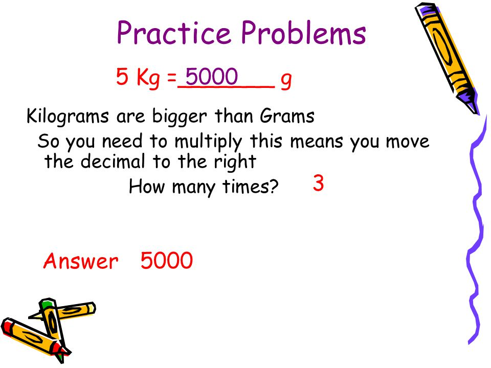 Practice Problems 5 Kg =_______ g 5000 3 Answer 5000
