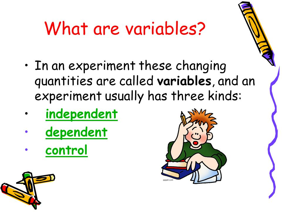 What are variables In an experiment these changing quantities are called variables, and an experiment usually has three kinds: